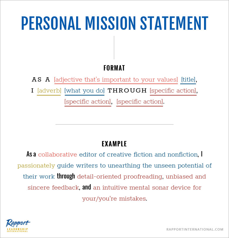 personal mission statement format